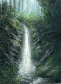 Waterfall Painting a print of an original by ArtworkByErinn, $28.00