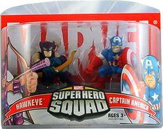 Marvel Superhero Squad Hawkeye & Captain America Mini Figure 2-Pack super hero, marvel mini figures, sabbyz board, superhero squad, figur 2pack, da marvel, favorit toy, marvelici super, boneco da