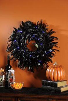 Black Feather Halloween Wreath #kirklands #seasonaldecor