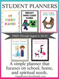 FREE Student Planners {in 7 different themes}
