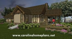 Deck and covered porch for outdoor enjoyment - small stone craftsman cottage house plan SG-981-AMS, great plan for retirees.