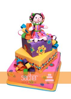 Pastel de fondant diseño mexicano / Fondan cake - traditional mexican doll