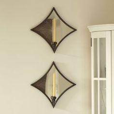 Antiqued Mirror Sconce - Mirrored Sconces, Etched Sunburst Lighting