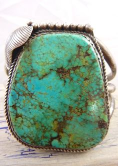 Old Pawn Vintage navajo Sterling Silver Cuff Bracelet w Beautiful Pilot Mountain Turquoise.