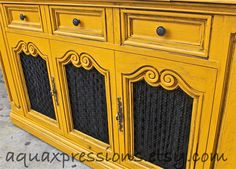Vintage Stereo Cabinet/ Butternut Squash Yellow/ by AquaXpressions