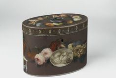 Tea caddy, 1780-1800, Wood with painted decoration and metal handle. Given by Thomas Sutton, Esq.