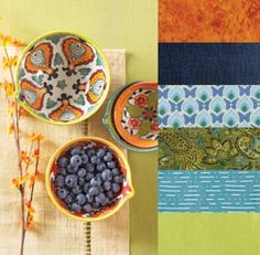 Color Inspirations | color palettes from pottery designs orang, quilt, green, art, florals, dots, blues, color inspir, bright colors