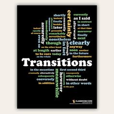 "FREE 8.5x11"" poster with common writing transitions arranged in a word cloud! Great for writing class!"