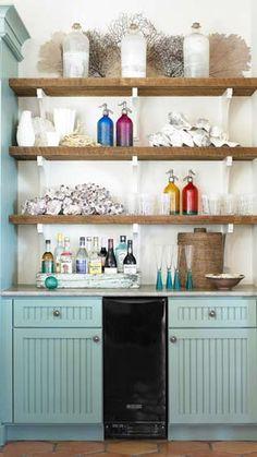 interior, open shelves, bar areas, beach hous, cabinet, carter kay, wood shelves, kitchen, beach styles