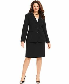 Jones New York Collection Plus Size Devon Three Button Blazer & Pencil Skirt