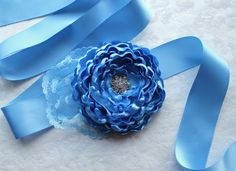 Winter Blue Flower Ribbon Sash/ Handmade Wedding Accessory