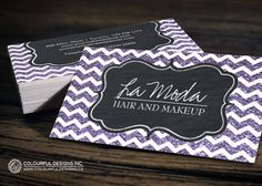 Fully customizable chevron glitter business cards designed by Colourful Designs Inc.