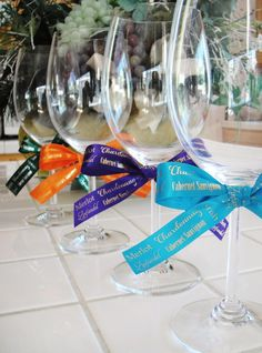 wine glasses with ribbon markers