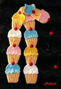 """"""" MOSSITA BELLA PATRONES Y GRÁFICOS CROCHET """": Cupcakes, Bufanda cubiletes a crochet!!!"""