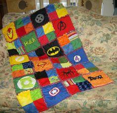 Custom Made Superhero Super Hero Comic Cotton and Minky Chenille Applique Lap Size Rag Quilt Blanket. $95.00, via Etsy.
