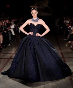 fashion weeks, fall fashions, balls, ball gowns, dresses, close zac, brocad gown, black and blue prom gowns, zac posen