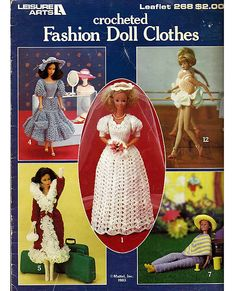 Vintage Crocheted Fashion Doll Clothes - fits Barbie - Leisure Arts 268.