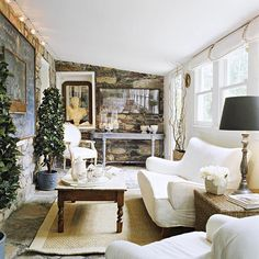 decor, interior, living rooms, add sunroom, stone walls, room makeovers, live room, fireplace wall, cottage style