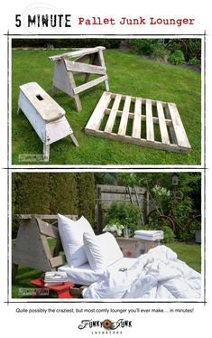 Bring on the 5 minute outdoor pallet sawhorse lounger! Quite possibly the comfiest lounger you'll ever own... in minutes!  via Funky Junk Interiors