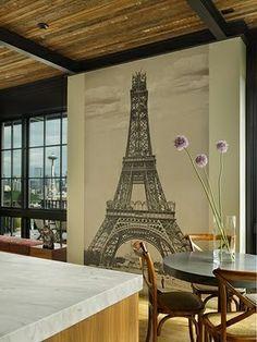 breakfast rooms, wall art, interior design, tower, wall murals, paris theme, hous, dining room design, modern kitchens