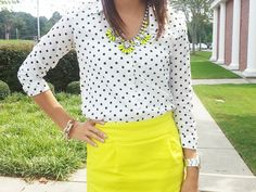 4/1. Black and white polka dots with neon