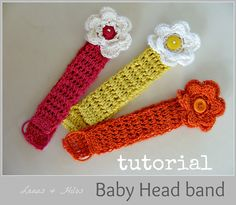 Lanas Hilos: Tutorial: BABY HEAD BAND - AHA! no matter what, crochet just isn't very stretchy; using a pony tail elastic is a great idea, I'm about to try it