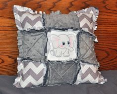 Gray Elephant and Chevron Rag Throw Pillow by RichardQuilts, $32.00