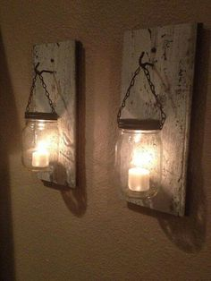 Mason jar tea light wall hangers