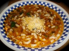 Greek Noodle Soup: quick, easy, and a low budget meal  Substituted 1 can of petite diced tomatoes (drained) and used a combination of shredded Romano/Asiago/Parmesan Cheese.  Thinking this may need chicken broth for more flavor but still delicious!