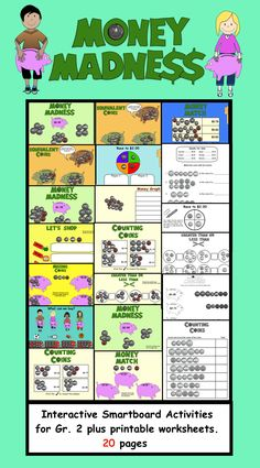 Money Madness Interactive Smartboard Activities and printable worksheets for Gr. 2. 20 pages   $
