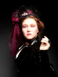 """""""Evelyn Kriete"""" The black and pink theme updates an otherwise straightforward Victorian outfit. #neovictorian #goth #fashion #model #photography #woman #hat #gothic"""