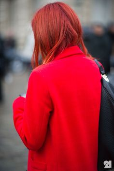 red on red artists, fashion weeks, inspiration, red hair, street style, couture, holidays, redhead, coats