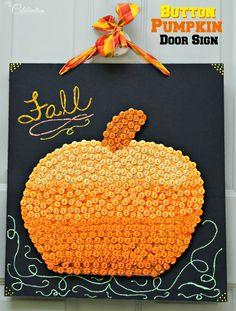 Button pumpkin door sign