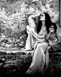 Angelina Jolie with Shiloh and Pax photographed by Brad Pitt