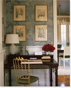 Right up my alley with the chinoiserie details and unexpected brass/gold chair. Love the wallpaper, subtle but beautiful.