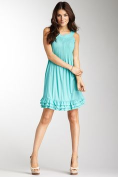 argenti sleeveless chemise with ruffle hem dress