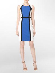 geometric colorblock sheath dress - dresses- Calvin Klein