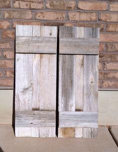 2 Reclaimed Barnwood Shutters 13 x 36, via Etsy.
