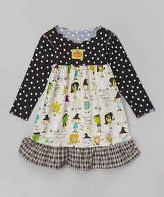 This Black & White Costume Ruffle Dress - Toddler & Girls is perfect! #zulilyfinds