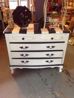 Pure white and graphite annie sloan chalk paint 174 striped dresser