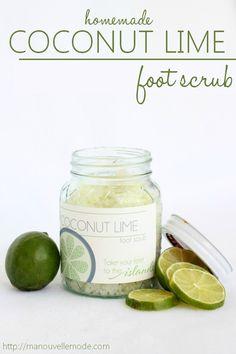 foot scrub homemade, homemad coconut, coconut lime, summer feet scrub