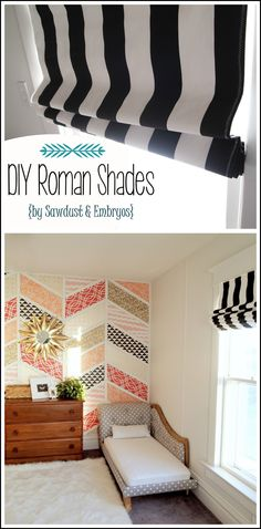 How to make Roman Shades using Mini-Blinds and that wall-I want that wall!!!!