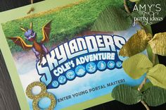 skylanders birthday party ideas door welcome sign, Skylanders Giants Birthday Party Ideas & Games | @AmysPartyIdeas #SkylandersGiants #party #DIY #Skylander #Birthday #dessert table #supplies