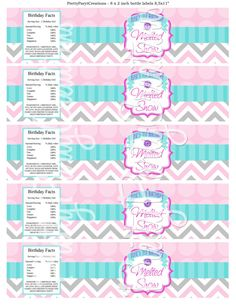 PRETTY SNOWFLAKES water labels  You Print by PrettyPartyCreations
