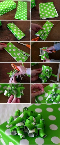 Making paper bow using the leftover paper scraps.