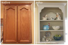 The Money Pit: Tutorial: Turning Cabinets into Custom Shelves - make built in bookcases for living room or dining room