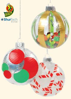 Duck Tape® Plastic Ornaments #ornaments #craft #christmas