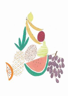 FRUIT TOWER.Walll art. Illustration by Amyislaillustration on Etsy, $35.00 fruit, pineapple, watermelon, fruit illustration, fruit print, poster, fruit poster,