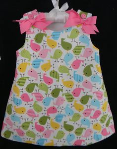 Summer Toddler Girl Dress with Colorful Birds. $35.00, via Etsy.