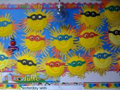 Make the classroom bright and cheery with these happy sunshine handprint crafts! Sunglasses and rosy cheeks would make a cute touch :)